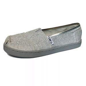 Toms Classic Glitter Silver Girls Size 13.5 Shoes